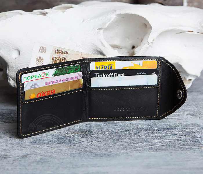 WB128-3 Черный мужской кошелек из натуральной кожи на застежке. «Boroda Design» фото 06