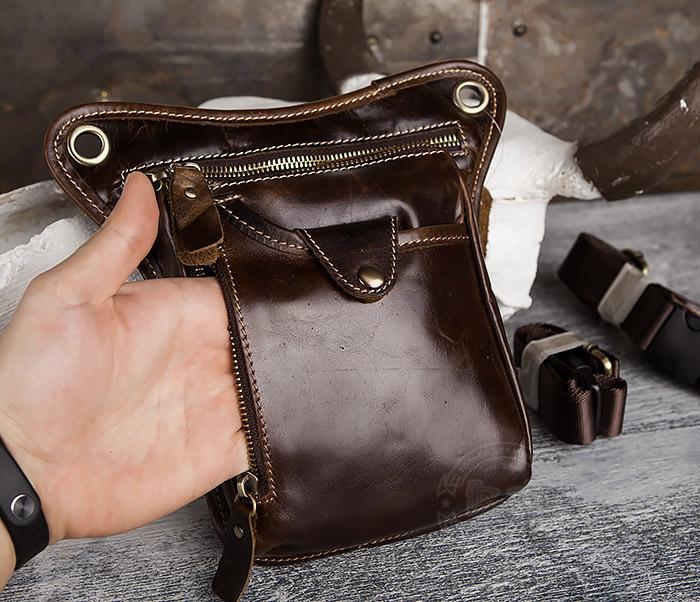 BAG436-2 Крутая набедренная сумка из натуральной кожи фото 04