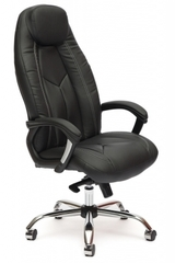 Кресло компьютерное Босс люкс (Boss lux) хром — черный/черный перфорированный (36-6/36-6/06)