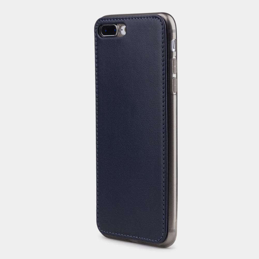 Чехол-накладка для iPhone 8 Plus из натуральной кожи теленка,  цвета индиго