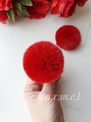 Помпон из натурального меха, Кролик, 5-6 см, цвет Красный, 2 штуки