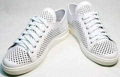 Белые летние кеды туфли полуспортивные женские ZiKo KPP2 Wite.