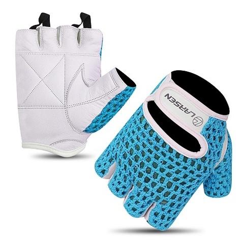 Перчатки для т/а и фитнеса (нат.кожа) Larsen 16-1961 white/blue (M)