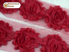 Шифоновые шебби-розы красные  диаметр 6 см