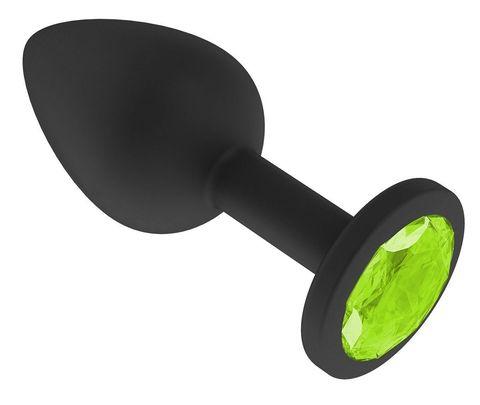 Чёрная анальная втулка с лаймовым кристаллом - 7,3 см.
