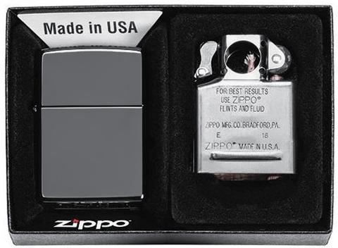Подарочный набор Zippo: ветроустойчивая зажигалка Black Ice+вставной блок для зажигалок для трубок123