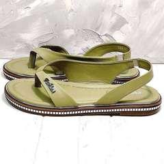 Кожаные босоножки сандалии через палец Evromoda 454-411 Olive.