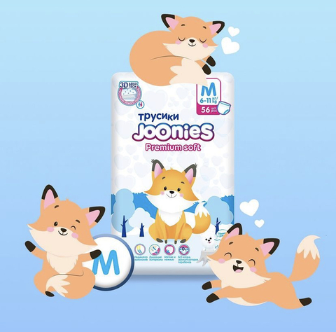 Трусики JOONIES Premium Soft, 6-11 кг (М) Новые