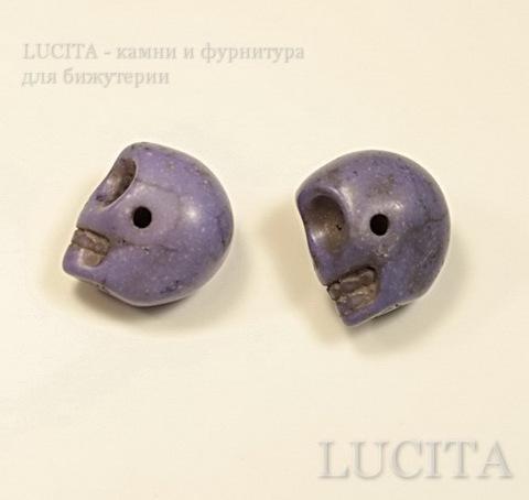 """Бусина Бирюза (искусств) """"Череп"""", цвет- светло -фиолетовый, 13,2х12,7х9,7 мм ()"""