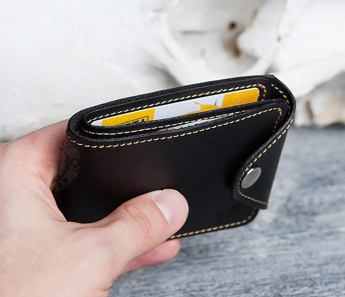 WB128-3 Черный мужской кошелек из натуральной кожи на застежке. «Boroda Design» фото 07