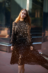 Платье из черного шифона длинное оптом