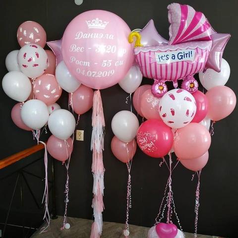 Набор воздушных шаров на выписку для девочки №1