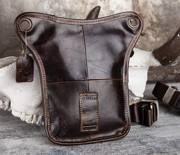 BAG436-2 Крутая набедренная сумка из натуральной кожи фото 07