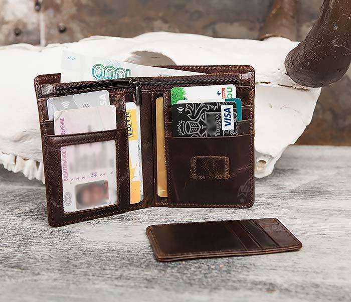 WL297-2 Классическое мужское портмоне со съемным кардхолдером фото 07
