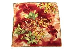 Итальянский платок из шелка бордовый с цветами 5401