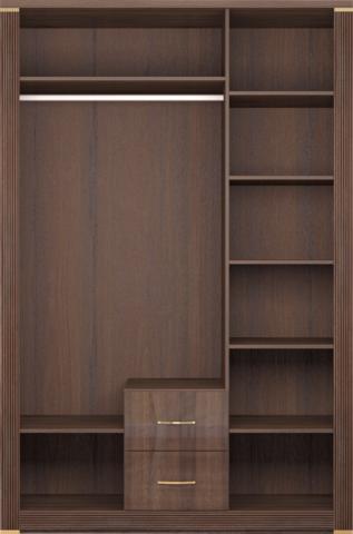 Шкаф для одежды трехдверный Париж 1 с зеркалом Ижмебель дезира темная/орех натуральный глянец