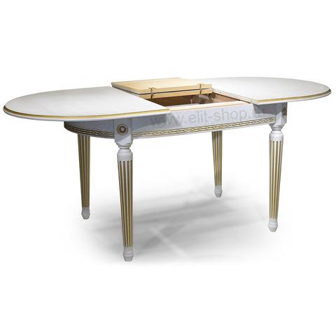 Стол ЛЕКС-2 Тон 1 с золотой патиной / вид шпона дуб / 140(185)х90 см