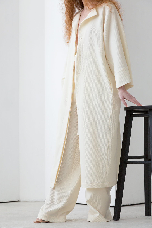 Платье-рубашка на поясе, цвет: молоко