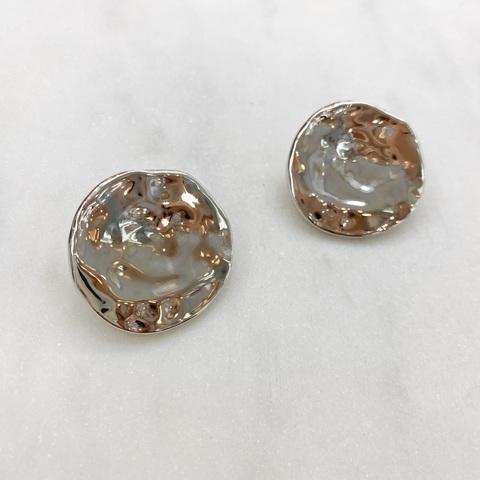 Серьги-кластеры Мятые Круглые Пластины (серебристый) ш925