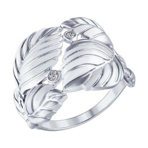 94012370 - Кольцо из матированного серебра в форме переплетенных листьев
