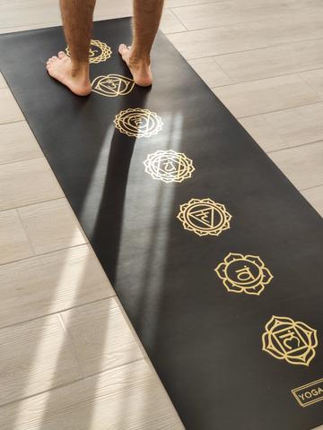 Каучуковый йога коврик Chakras Gold Pro 185*68*4,5 см