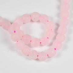 Бусина Кварц (прессов), шарик матовый, цвет - розовый, 6 мм, нить