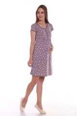 Мамаландия. Сорочка для беременных и кормящих с кнопками короткий рукав, звезды/коричневый вид 1
