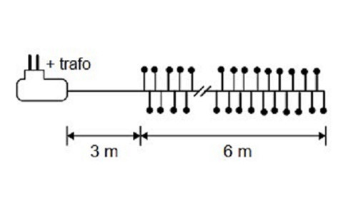 Декор Гирлянда Кластер белый свет провод серебро 960 ламп 600 см