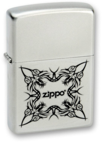 Зажигалка ZIPPO Classic Satin Chrome™ Орнамент в виде татуировки с надписью Zippo ZP-205Tattoo Design