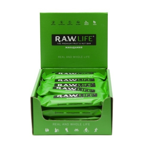 Батончик натуральный R.A.W. LIFE Green Макадамия коробка 20 шт.