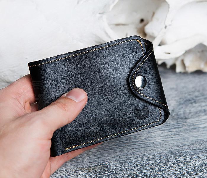 WB128-3 Черный мужской кошелек из натуральной кожи на застежке. «Boroda Design» фото 08