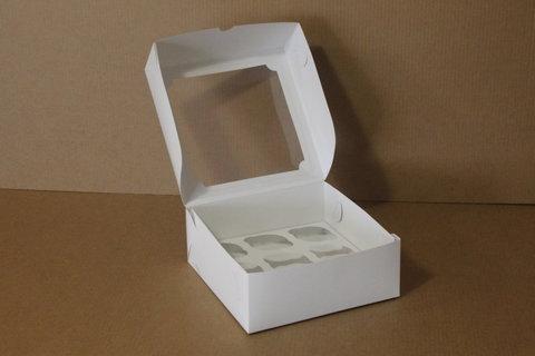 Коробка для 9 капкейков 25*25*10 с окном, белая