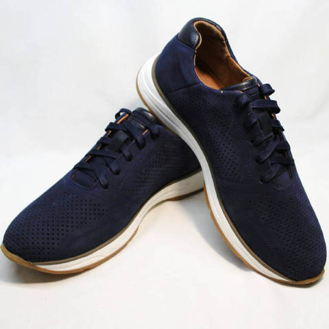 Летние мужские кроссовки натуральная кожа. Сникерсы кроссовки с перфорацией Faber 195-Blue.