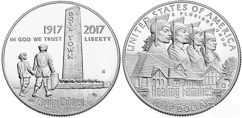 50 центов 1/2 доллара 2017 Город мальчиков Boys Town. США. PROOF