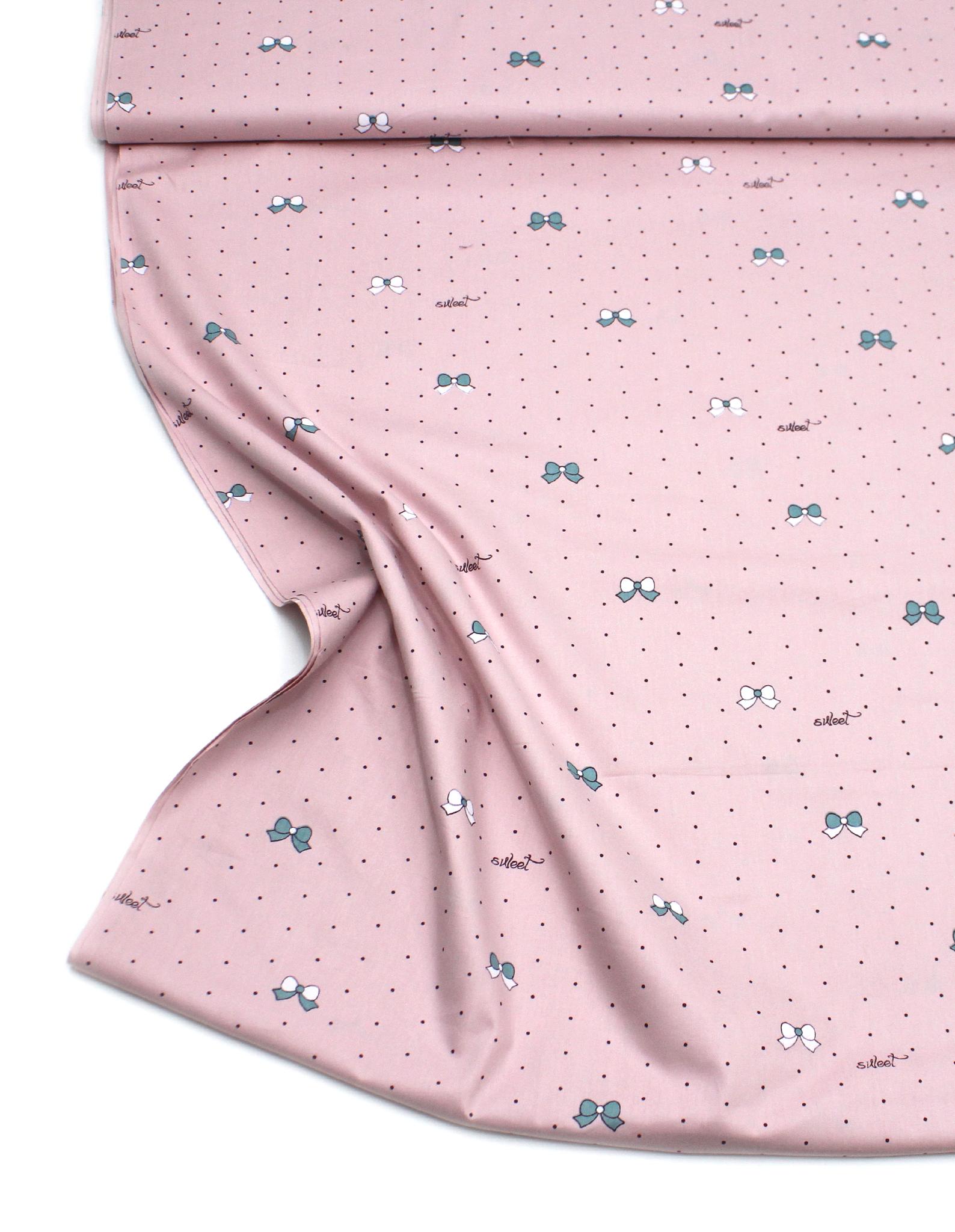 Горошек и бантики розовые