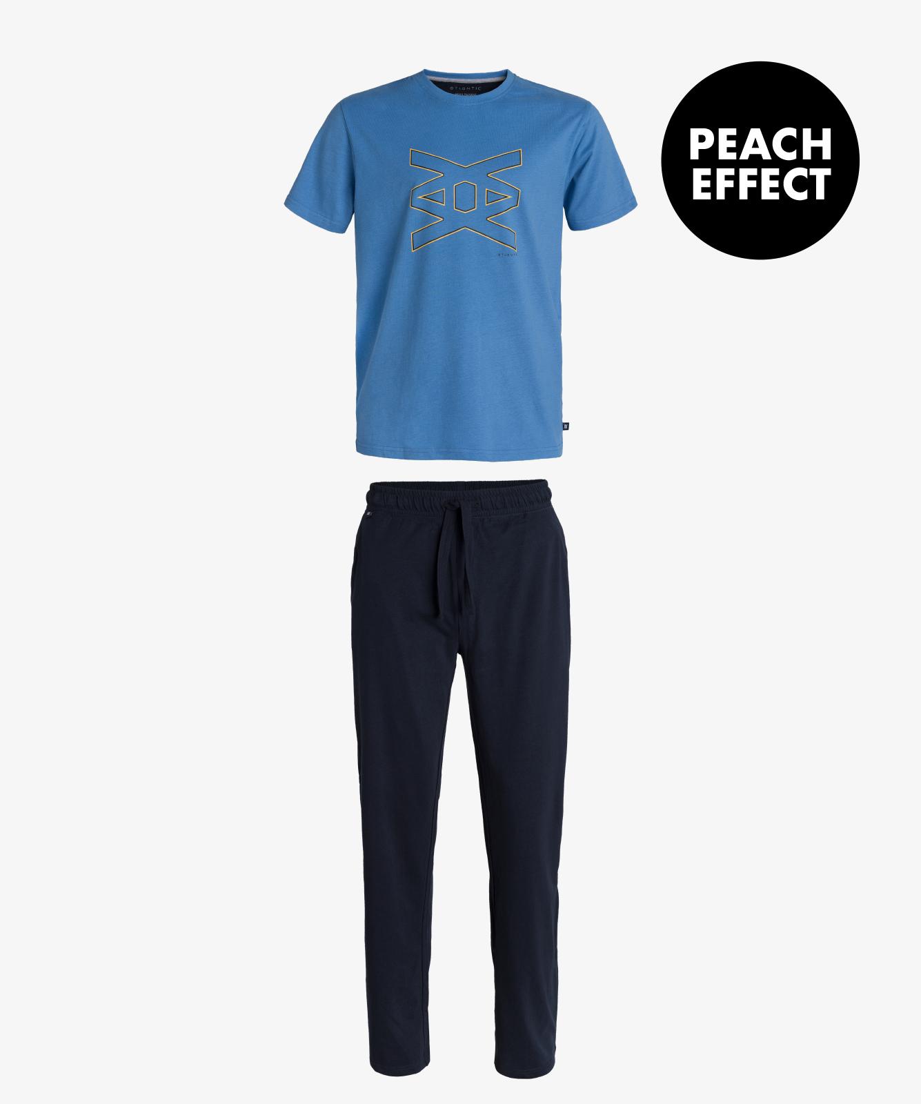 Мужская пижама Atlantic, 1 шт. в уп., хлопок, голубая, NMP-344