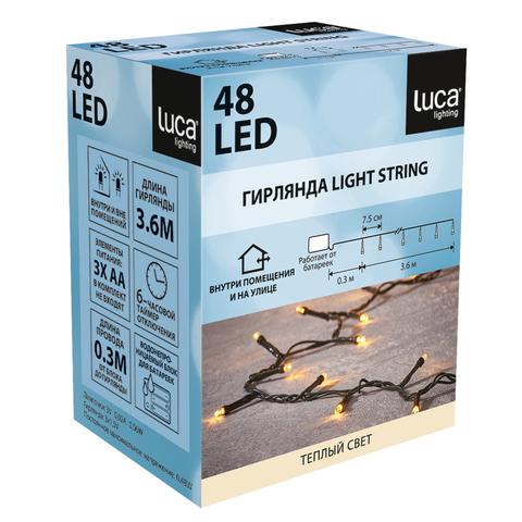 Многофункциональная электрогирлянда Luca lights 48 led ламп мягкого теплого цвета, работает от батареек