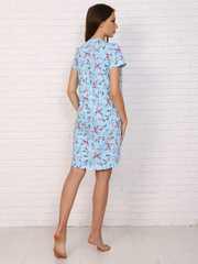 Мамаландия. Сорочка для беременных и кормящих с пуговицами короткий рукав, цветы/голубой