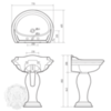 Раковина-тюльпан Milady Migliore  77х60,5см. ML.MLD-25.773.D4.DO с декором золото схема