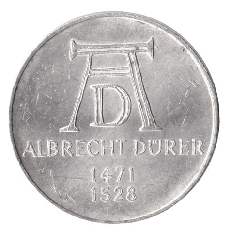 5 марок. 500 лет со дня рождения Альбрехта Дюрера. Германия. (D). Серебро. 1971 год. AU