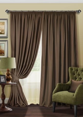 Комплект штор и тюль полуорганза Blackout коричневый