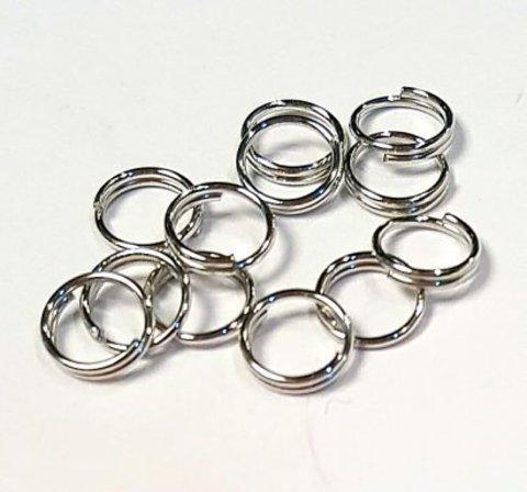 Кольцо двойное 6 мм цвет платина цена за 25 шт