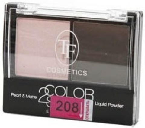 ТФ Тени двухцветные компактные тон 208 цвет пудры и шоколад CTE-21