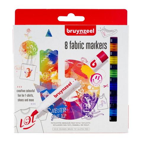 Набор маркеров для ткани Bruynzeel Teen 8 штук в картонной упаковке