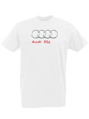 Футболка с принтом Ауди RS4 (Audi RS4) белая 00011