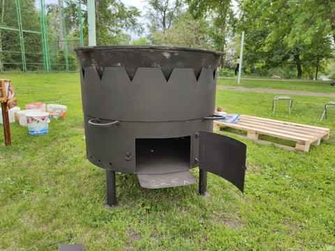 Комплект 225 литров, печь с без дымохода, с дверцей + узбекский казан + шумовка