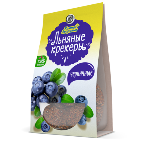 Крекеры льняные с черникой, 50 гр. (Компас Здоровья)