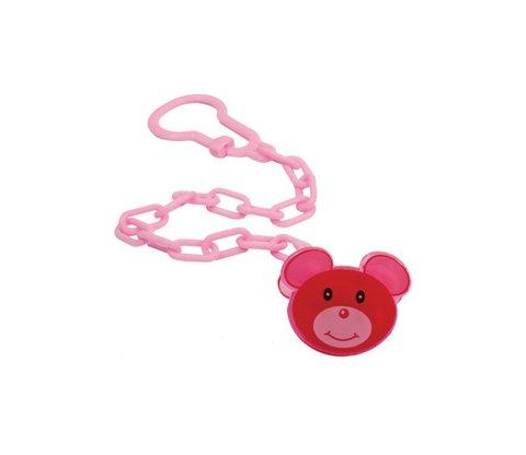 Цепочка для пустышки Мышка Lindo, розовая