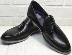 Черные лоферы мужские туфли без шнурков Luciano Bellini 91178-E-212 Black.