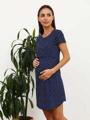 Мамаландия. Сорочка для беременных и кормящих с горизонтальным секретом, звезды/темно-синий